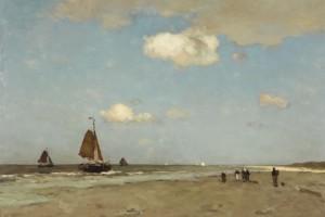 Jan Hendrikk Weissenbruch, Strand Scène 1887, te zien in Gemeentemuseum Den Haag
